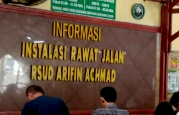 Akhir Pekan, Pasien Poli Rawat Jalan RSUD Arifin Achmad Capai 268 Orang
