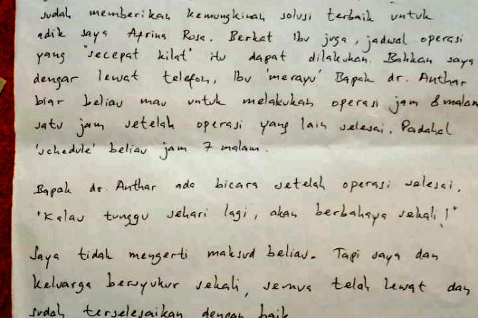 """Satu Lagi, """"Surat Cinta"""" dari Pasien untuk Petugas RSUD Arifin Achmad"""