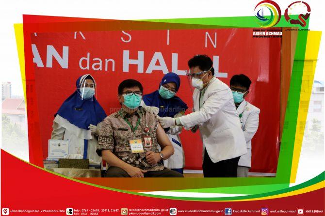 RSUD Arifin Achmad Provinsi Riau gelar Vaksinasi Covid-19 perdana di Provinsi Riau