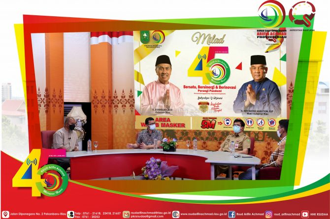 """Dialog Khusus Tema HUT RSUD Arifin Achmad Provinsi Riau """"Bersatu, Bersinergi dan Berinovasi Perangi Pandemi""""."""