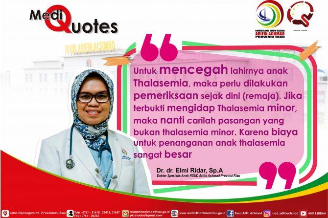 [Medik Quote] Ayo kita kenali penyakit Thalasemia dan pencegahannya..